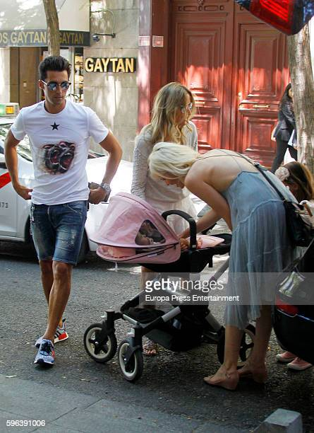 Real Madrid football player Alvaro Arbeloa his wife Carlota Ruiz their kids and Adriana Abenia are seen on July 26 2016 in Madrid Spain