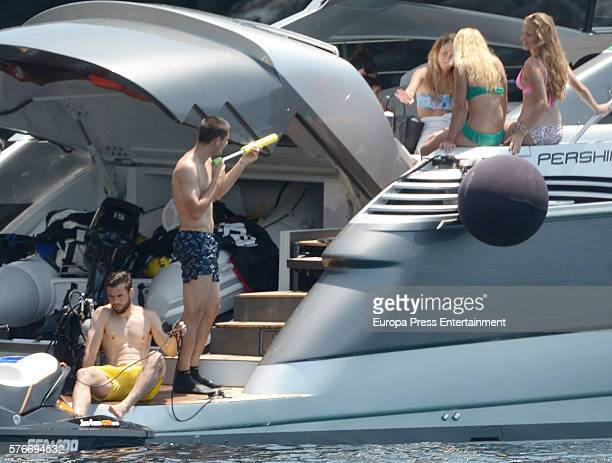 Real Madrid football player Alvaro Morata and Alice Campello and Nacho Fernandez are seen on June 30 2016 in Ibiza Spain