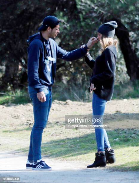 Real Madrid football player Alvaro Morata and his girlfriend Alice Campello are seen on February 19 2017 in Madrid Spain