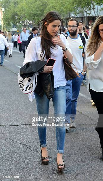 Real Madrid football player Chicharito's girlfriend the sport journalist Lucia Villalon celebrates the Real Madrid victory at Champions League...