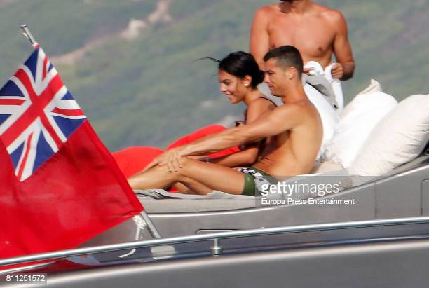 Real Madrid football player Cristiano Ronaldo and Georgina Rodriguez are seen on July 8 2017 in Ibiza Spain