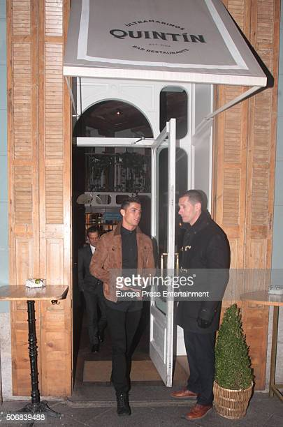 Real Madrid football player Cristiano Ronaldo and his football agent Jorge Mendes are seen leaving Quintin Ultramarinos restaurant on January 25 2016...