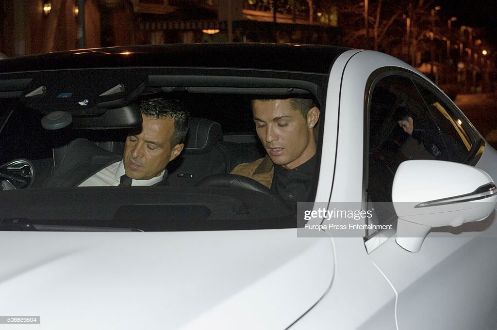 Real Madrid football player <a gi-track='captionPersonalityLinkClicked' href=/galleries/search?phrase=Cristiano+Ronaldo+-+Soccer+Player&family=editorial&specificpeople=162689 ng-click='$event.stopPropagation()'>Cristiano Ronaldo</a> (2L) and his football agent <a gi-track='captionPersonalityLinkClicked' href=/galleries/search?phrase=Jorge+Mendes&family=editorial&specificpeople=11371879 ng-click='$event.stopPropagation()'>Jorge Mendes</a> (L) are seen leaving Quintin Ultramarinos restaurant on January 25, 2016 in Madrid, Spain.