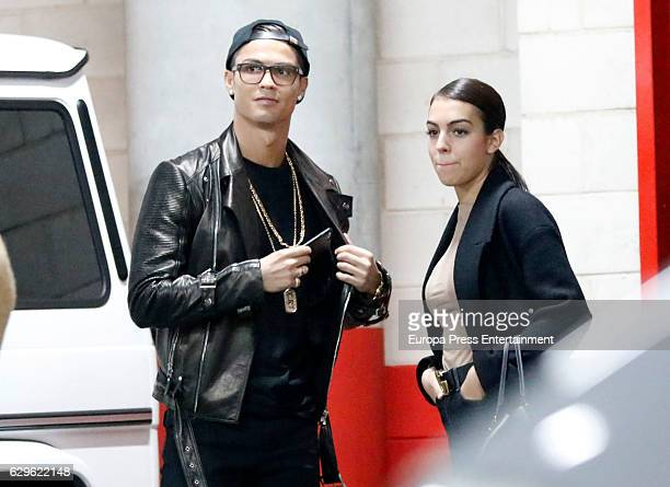 Real Madrid football player Cristiano Ronaldo and his girlfriend Georgina Rodriguez are seen attending Justin Bieber's concert on November 23 2016 in...