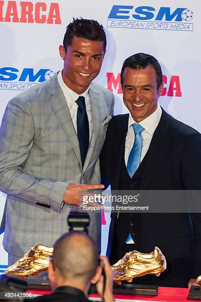 Real Madrid football player Cristiano Ronaldo and Jorge Mendes attend the award ceremony to present Cristiano Ronaldo with his fourth Golden Boot...