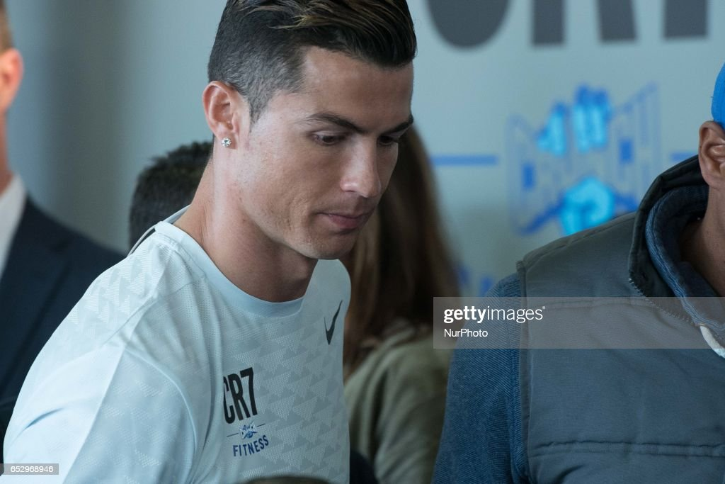 """Real Madrid Football player Cristiano Ronaldo assist to the """"CR7 Crunch Fitness"""" gym at """"Alcala Norte"""" Mall in Madrid, on March 13, 2017"""