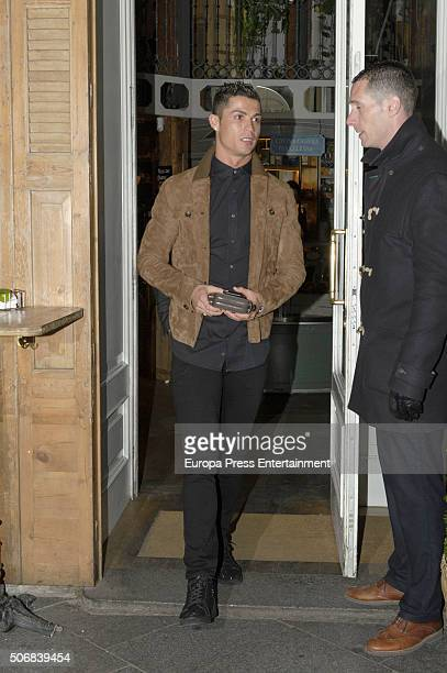 Real Madrid football player Cristiano Ronaldo is seen leaving Quintin Ultramarinos restaurant on January 25 2016 in Madrid Spain