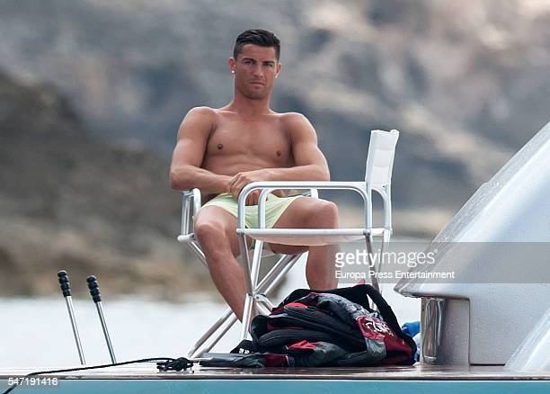 Real Madrid football player Cristiano Ronaldo is seen on July 13 2016 in Ibiza Spain