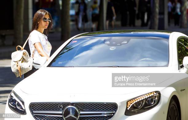Real Madrid football player Cristiano Ronaldo picks up his girlfriend Georgina Rodriguez on June 1 2017 in Madrid Spain