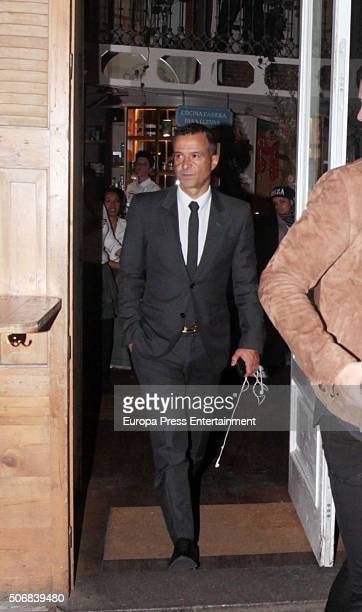 Real Madrid football player Cristiano Ronaldo's football agent Jorge Mendes is seen leaving Quintin Ultramarinos restaurant on January 25 2016 in...