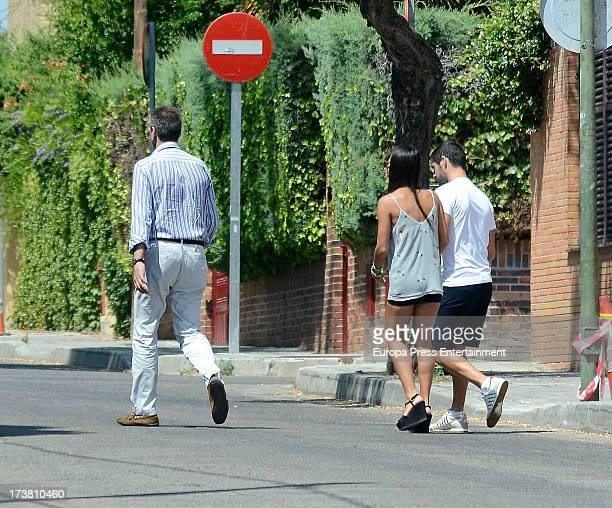 Real Madrid football player Francisco Roman Alarcon 'Isco' his girlfriend Victoria and her father Paco Alarcon are seen looking for a flat on July 17...