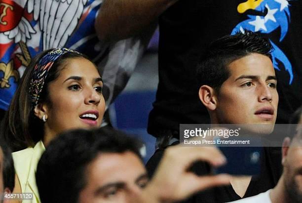 Real Madrid football player James Rodriguez and Daniela Ospina attend Serbia v USA 2014 FIBA World Basketball Championship at Palacio de los Deportes...