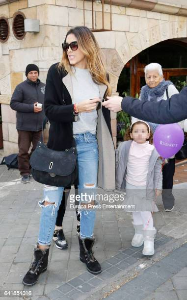 Part of this image has been pixellated to obscure the identity of the child Real Madrid football player James Rodriguez's wife Daniela Ospina and her...