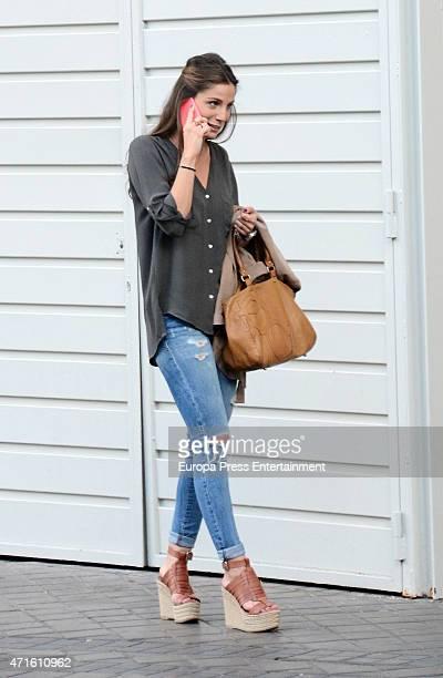 Real Madrid football player Javier Hernandez 'Chicharito's girlfriend Lucia Villalon is seen outside Santiago Bernabeu stadium on April 29 2015 in...