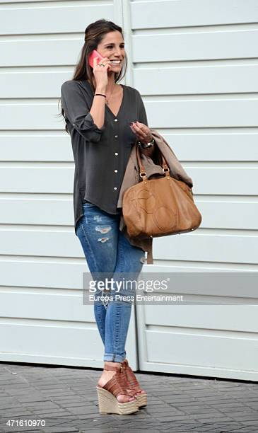 Real Madrid football player Javier Hernandez 'Chicharito's girlfriend Lucia Villalon is seen outside Santiago Bernabeu stadium on April 29 2015 in...
