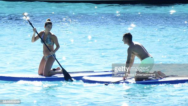 Real Madrid football player Lucas Vazquez and Macarena Rodriguez are seen on July 17 2016 in Ibiza Spain
