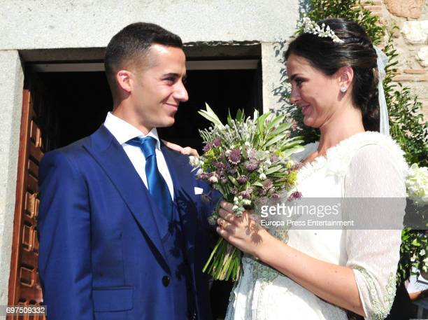 Real Madrid football player Lucas Vazquez and Macarena Rodriguez attends their wedding on June 18 2017 in Madrid Spain