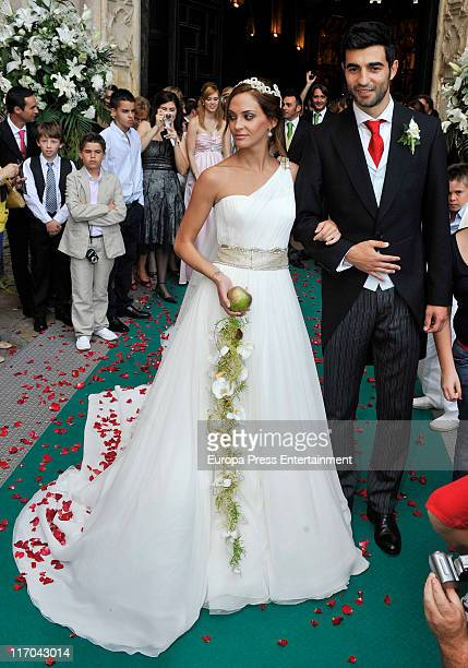 Real Madrid football player Raul Albiol and his girlfriend Alicia Roig get married at Valencia's cathedral on June 17 2011 in Valencia Spain