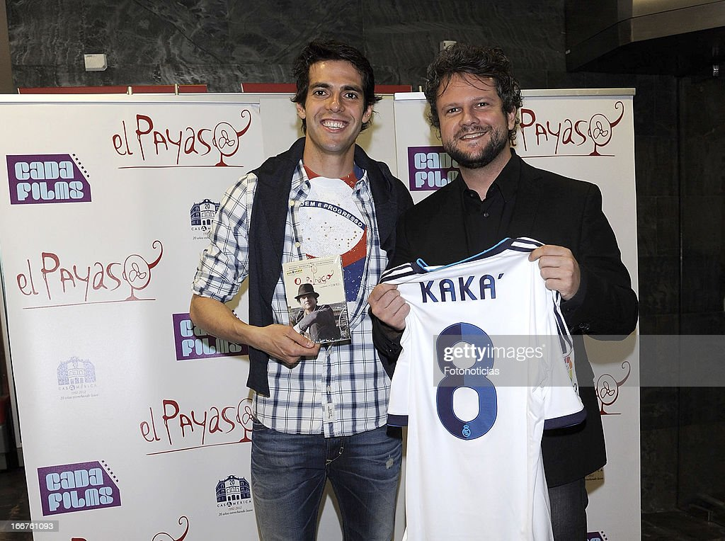 Real Madrid football player Ricardo Izecson dos Santos Leite, Kaka, and actor/director Selton Mello attend the premiere of 'El Payaso' (The Clown) at Proyecciones Cinema on April 16, 2013 in Madrid, Spain.