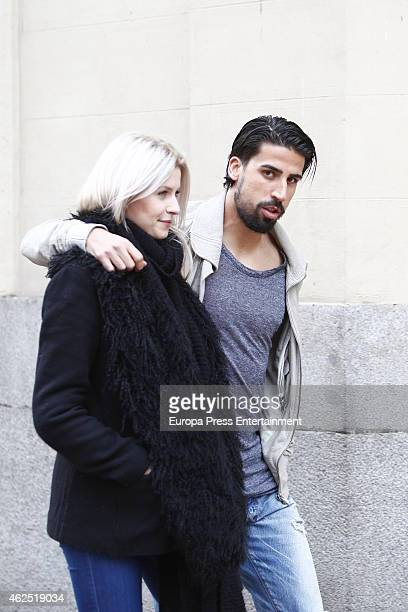 Real Madrid football player Sami Khedira and Lena Gercke are seen on January 29 2015 in Madrid Spain