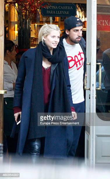 Real Madrid football player Sami Khedira and Lena Johanna Gercke are seen on December 11 2014 in Madrid Spain