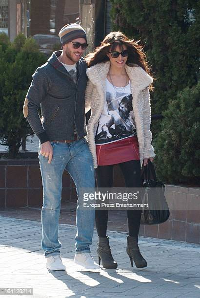 Real Madrid football player Sergio Ramos and television presenter Pilar Rubio are seen on March 19 2013 in Madrid Spain