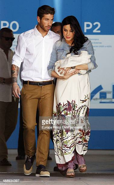 Real Madrid football player Sergio Ramos and the tv presenter Pilar Rubio present their new born Sergio Ramos jr on May 9 2014 in Madrid Spain