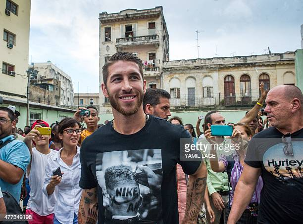 Real Madrid football team player Sergio Ramos upon his arrival in Havana on June 16 2015 Ramos is in Cuba as UNICEF ambassador AFP PHOTO/YAMIL LAGE