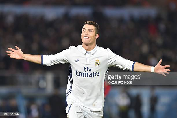 Real Madrid forward Cristiano Ronaldo celebrates scoring during extratime of the Club World Cup football final match between Kashima Antlers of Japan...