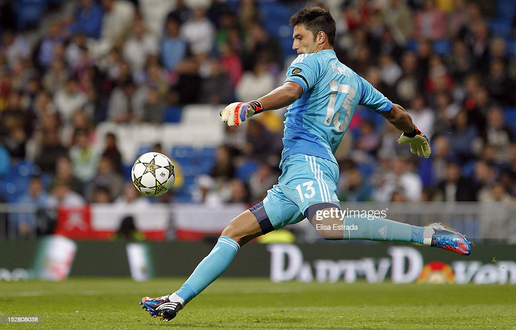 Real Madrid goalkeeper Antonio Adan in action during the Santiago Bernabeu Trophy match between Real Madrid and Millonarios CF at Santiago Bernabeu stadium on September 26, 2012 in Madrid, Spain.