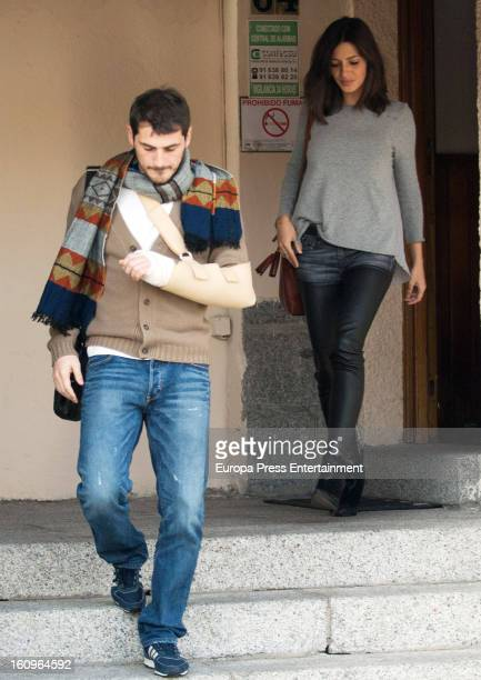 Real Madrid goalkeeper Iker Casillas and his girlfriend sport journalist Sara Carbonero are seen after Iker suffered an injury in his left hand...