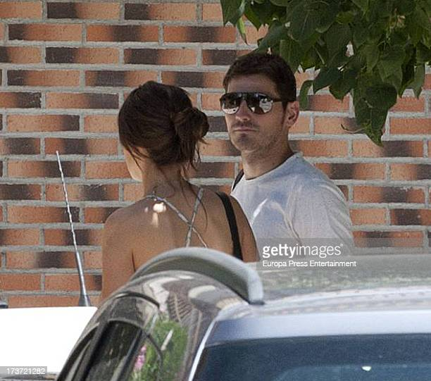 Real Madrid goalkeeper Iker Casillas and his girlfriend the sport journalist Sara Carbonero two months pregnant are seen visiting Casillas'...