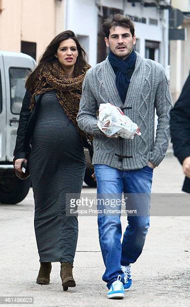 Real Madrid goalkeeper Iker Casillas and his girlfriend the sport journalist Sara Carbonero are seen on December 24 2013 in Corral de Almaguer Spain