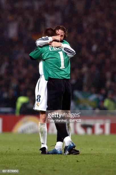 Real Madrid goalkeeper Iker Casillas hugs teammate Steve McManaman after winning the European Cup