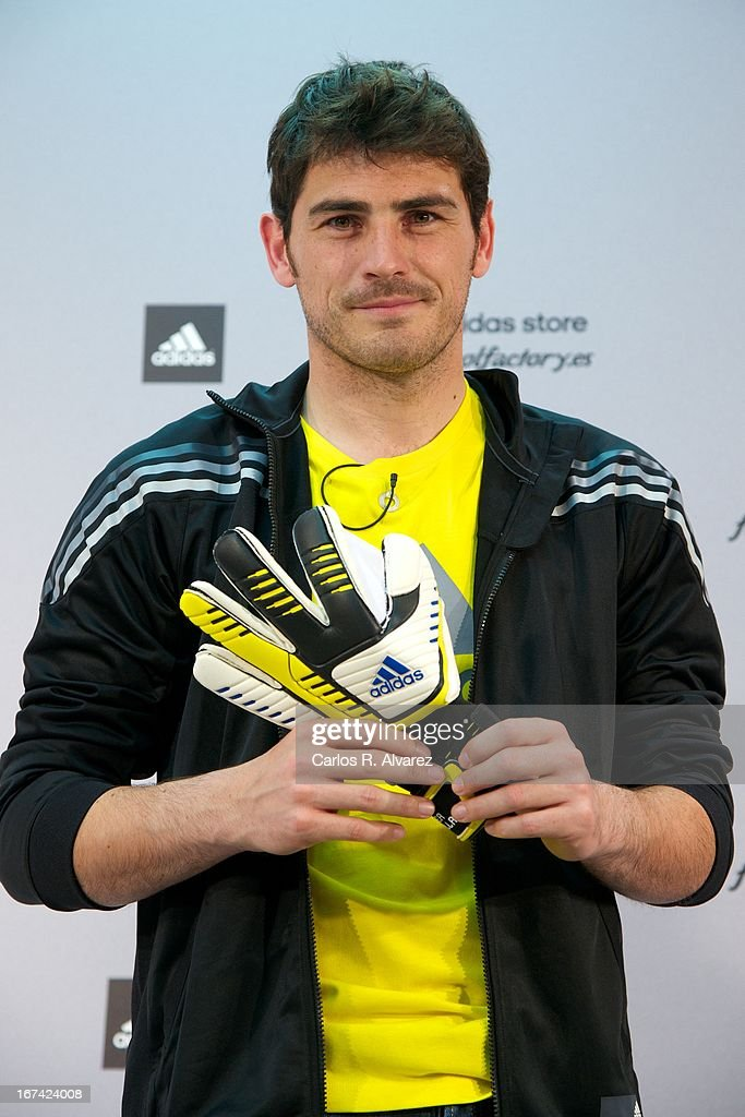 Real Madrid goalkeeper Iker Casillas present the new boots Adidas Predator at the Adidas Parque Sur store on April 25, 2013 in Madrid, Spain.