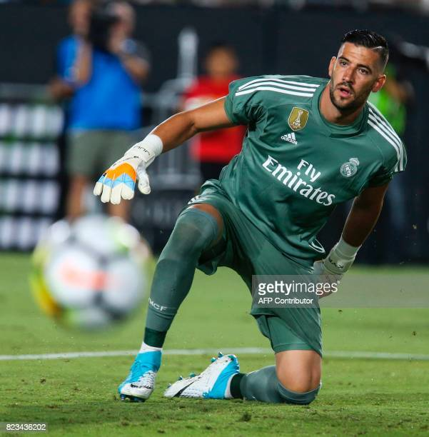 Real Madrid goalkeeper Kiko Casilla eyes on a ball during the second half of the International Champions Cup match against Manchester City on July 26...