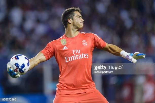 Real Madrid goalkeeper Ruben Yanez throws a ball in the second half during a soccer match between the MLS AllStars and Real Madrid on August 02 at...