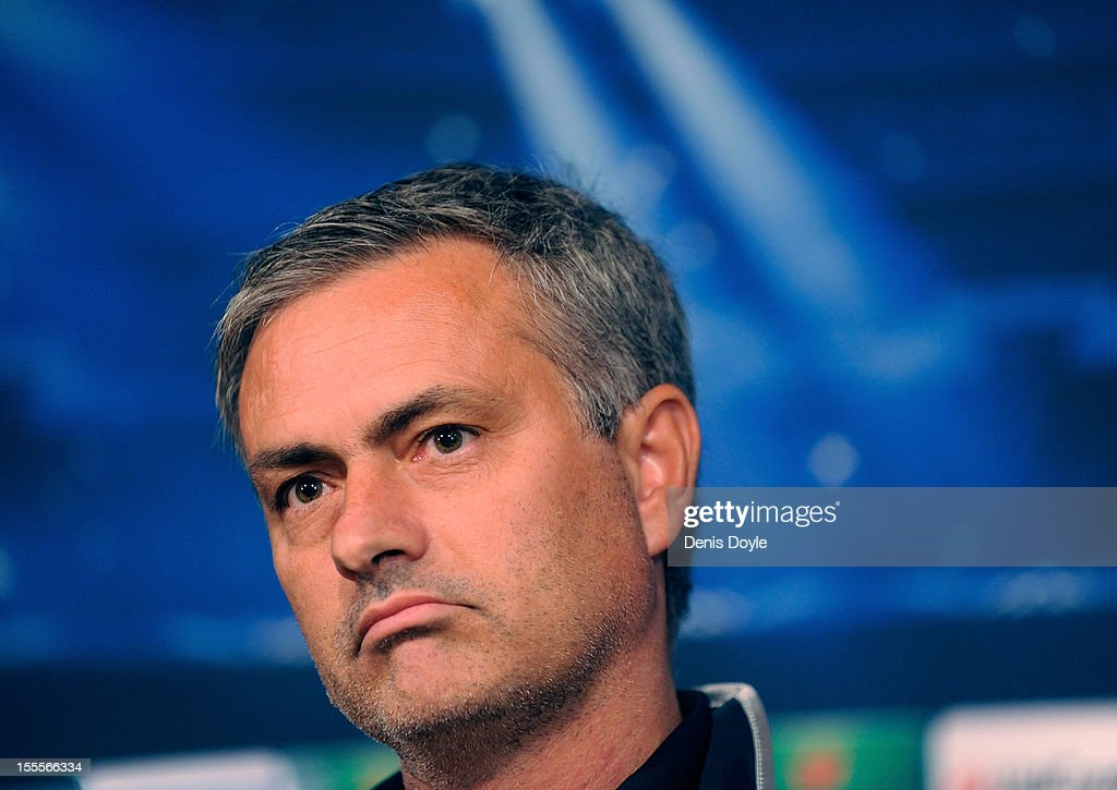 Real Madrid head coach Jose Mourinho faces the press during a news conference at the Santiago Bernabeu stadium on November 5, 2012 in Madrid, Spain.