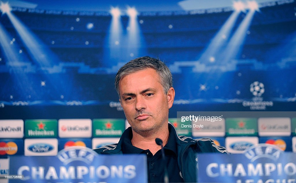 Real Madrid head coach, Jose Mourinho faces the press during a news conference at the Santiago Bernabeu stadium on November 5, 2012 in Madrid, Spain.