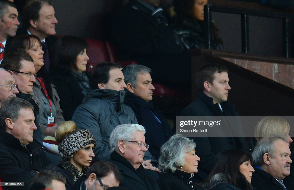 Real Madrid Head Coach Jose Mourinho looks on during the Barclays Premier League match between Manchester United and Everton at Old Trafford on February 10, 2013 in Manchester, England.
