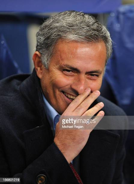 Real Madrid Head Coach Jose Mourinho smiles prior to the UEFA Champions League Group D match between Manchester City FC and Real Madrid CF at the...