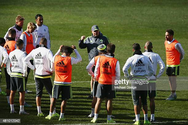 Real Madrid Head Manager Rafa Benitez during a Real Madrid training session at Melbourne Cricket Ground on July 17 2015 in Melbourne Australia