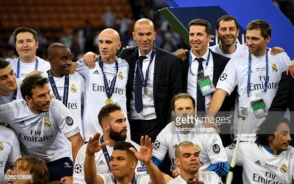 Real Madrid head Zinedine Zidane celbrates wining the Champions League after the UEFA Champions League Final match between Real Madrid and Club...