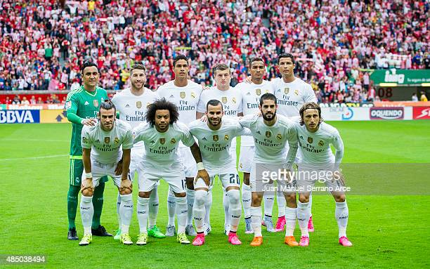 Real Madrid line up for a team photo prior to the La Liga match between Sporting Gijon and Real Madrid at Estadio El Molinon on August 23 2015 in...