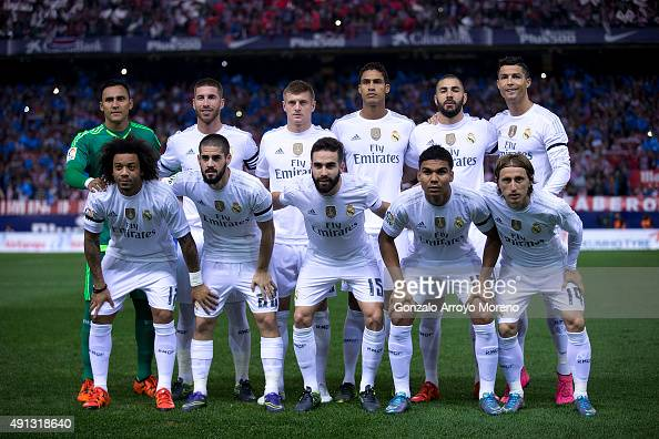 Real madrid line up prior to start the La Liga match between Club Atletico de Madrid and Real Madrid CF at Vicente Calderon Stadium on October 4 2015...