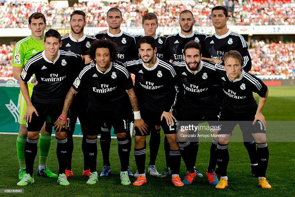Real Madrid line up prior to start the La Liga match between Granada CF and Real Madrid CF at Nuevo Estadio de Los Carmenes on November 1 2014 in...