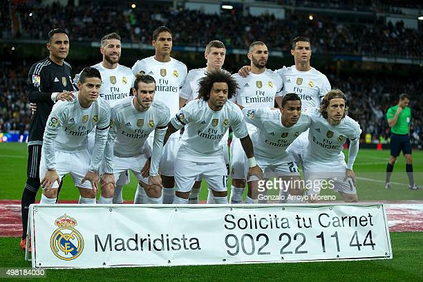Real Madrid line up prior to start the La Liga match between Real Madrid CF and FC Barcelona at Estadio Santiago Bernabeu on November 21 2015 in...