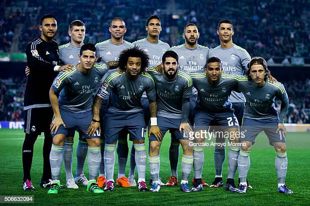 Real Madrid line up prior to start the La Liga match between Real Betis Balompie and Real Madrid CF at Estadio Benito Villamarin on January 24 2016...