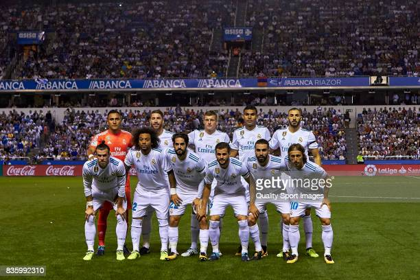 Real Madrid line up prior to the La Liga match between Deportivo La Coruna and Real Madrid at Riazor Stadium on August 20 2017 in La Coruna Spain