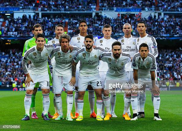 Real Madrid line up prior to the UEFA Champions League quarterfinal second leg match between Real Madrid CF and Club Atletico de Madrid at Bernabeu...